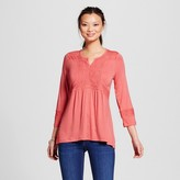 U-knit Women's 3/4 Sleeve Knit Top with Lace Insets
