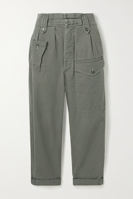 Saint Laurent Cotton And Ramie-blend Drill Cargo Pants - Gray green