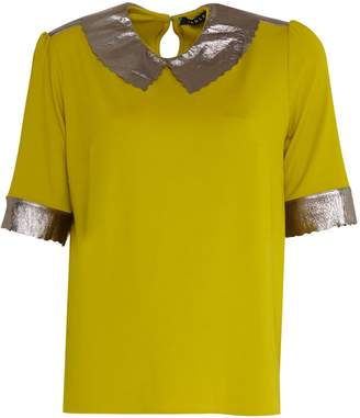 Manley Ailsa Silk Top With Metallic Leather Collar Mustard & Silver