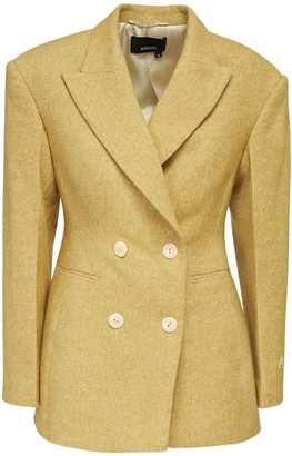 ANOUKI Double Breast Cotton Blend Tweed Blazer