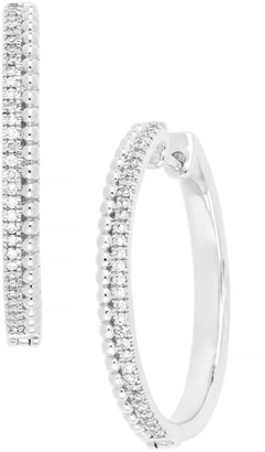 Carriere Sterling Silver Pave Diamond 27mm Hoop Earrings - 0.24 ctw