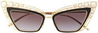 Dolce & Gabbana Eyewear Pearl Embellished Cat Eye Sunglasses