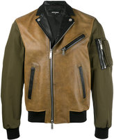 DSQUARED2 contrast tone biker jacket - men - Calf Leather/Polyester - 48