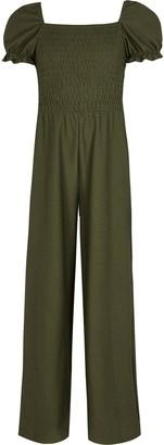 River Island Girls Khaki puff sleeve shirred jumpsuit