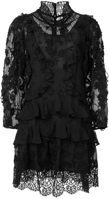 Rebecca Taylor Ruffle Long-Sleeve Dress