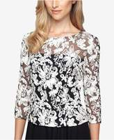 Alex Evenings Three-Quarter-Sleeve Soutache Blouse