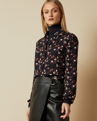 Ted Baker Geo Print Button Up Blouse
