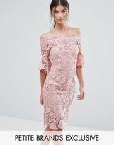 Paper Dolls Petite Bardot Allover Lace Pencil Dress