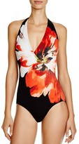 Carmen Marc Valvo Halter One Piece Swimsuit