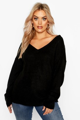 boohoo Plus Sweater With V Neck Detail Front And Back