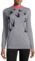 McQ by Alexander McQueen Jacquard Crewneck Sweater, Gray Melange/Black
