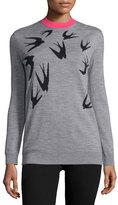 McQ Jacquard Crewneck Sweater, Gray Melange/Black