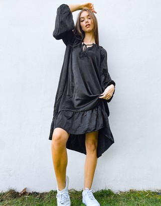 Object tie neck smock dress in black