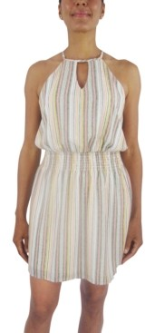 City Studios Striped Smocked-Waist A-Line Dress