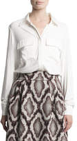 Pink Tartan Silk Mix Button-Up Blouse
