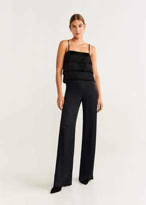 MANGO Satin palazzo pants black - 1 - Women