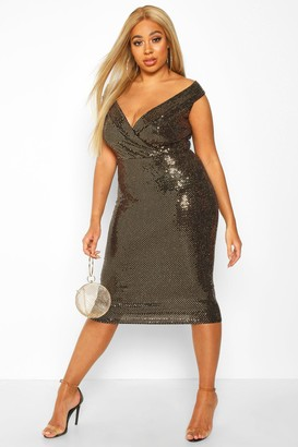 boohoo Plus Sequin Bardot Midi Dress