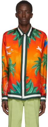 Casablanca Multicolor Silk Tennis Club Shirt