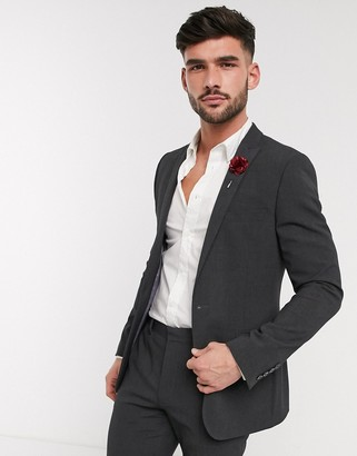 ASOS DESIGN wedding skinny suit jacket in charcoal four way stretch