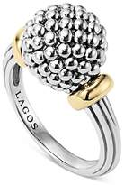Lagos Sterling Silver Caviar Beaded Ring with 18K Gold