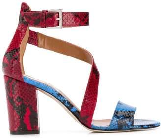 Paris Texas Snake Print Block Heel Sandals
