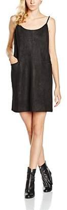 Yumi Women's Strappy Suedette Shift Plain Sleeveless Dress