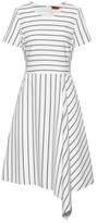 HUGO Striped-fabric dress with asymmetric hem and rear zip
