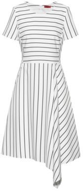 HUGO BOSS Striped-fabric dress with asymmetric hem and rear zip