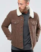 Asos Cord Western Jacket With Borg Collar In Brown