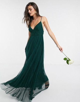 French Connection Sleeveless Bridesmaid Dress in Green
