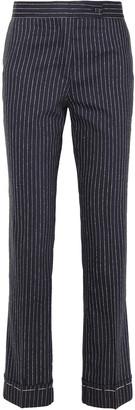 Golden Goose Pinstriped Wool And Silk-blend Straight-leg Pants