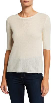 Majestic Cashmere Elbow-Sleeve Crewneck Sweater