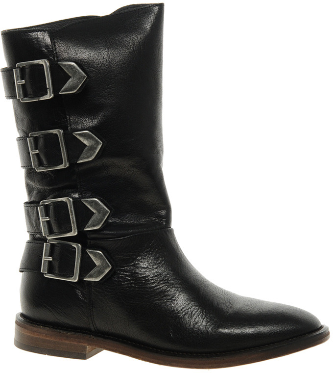 Hudson H By H by Lock Buckle Knee Boots - Black