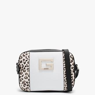 GUESS Kamryn Top Zip Leopard Colour Block Cross-Body Bag