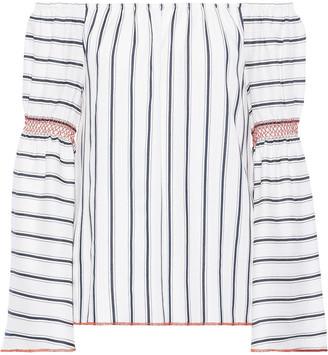 Charli Nelia Off-the-shoulder Striped Jacquard Top