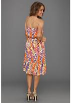 Three Dots Sorbet Mosiac Print High-Low Spring Dress