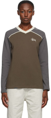 Stussy Brown and Taupe Panel V-Neck Sweatshirt