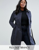 Helene Berman Plus Trench In Polka Dot