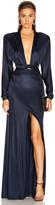Dundas Long Sleeve Slit Dress in Navy | FWRD