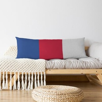 East Urban Home Detroit Basketball Striped Lumbar Pillow Color: Blue/Red/White