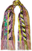 Etro Fringed Paneled Satin-jacquard Scarf - Purple