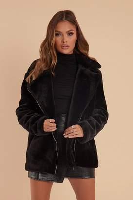 I SAW IT FIRST Black Faux Fur Aviator Jacket