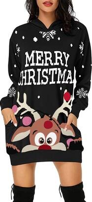 Harrystore Christmas Women Hoodies Jumper Cotton Tunic Pullover Sweatshirt Mini Dress Long Hooded Tops Oversized Casual Pockets