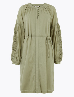 Marks and Spencer Pure Cotton Blouson Sleeve Relaxed Dress
