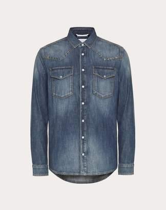 Valentino Rockstud Untitled Denim Shirt Man Navy 50