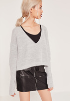 Missguided Grey V-Neck Slouchy Cropped Sweater