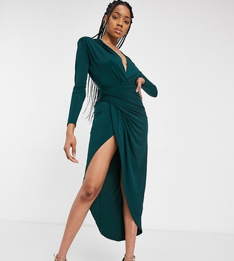 John Zack Tall plunge front wrap maxi dress in emerald green