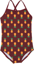 Leveret Girls' One Piece Swimsuits Pineapple - Burgundy Pineapple One-Piece - Toddler & Girls