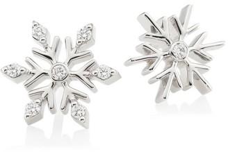 Roberto Coin Disney's Frozen 2 x 18K White Gold & Diamond Snowflake Stud Earrings
