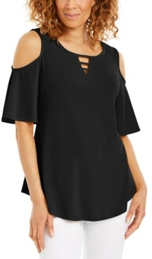 JM Collection Cutout Cold-Shoulder Top, Created for Macy's
